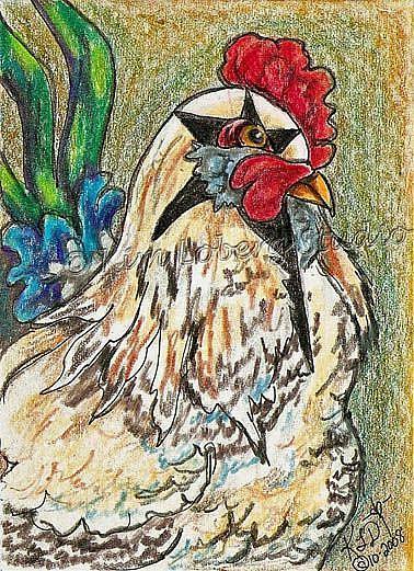 Art: Rockin Rooster - SOLD by Artist Kim Loberg