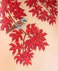 Art: Fall Oaks Sparrow by Artist Jackie K. Hixon