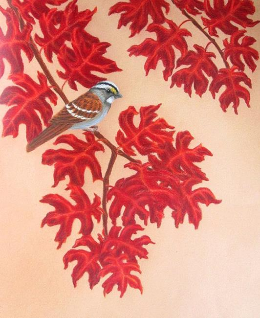 Art: Fall Oaks Sparrow by Artist Jackie K. Hixon