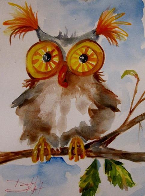 Art: Big Eyed Owl by Artist Delilah Smith