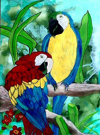 Art: Stained Glass Parrots by Artist Dia Spriggs