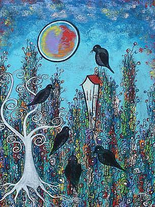 Art: Crows In Waiting by Artist Juli Cady Ryan