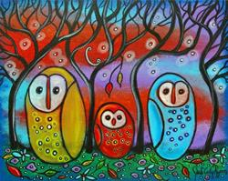 Art: The Owl Family by Artist Juli Cady Ryan