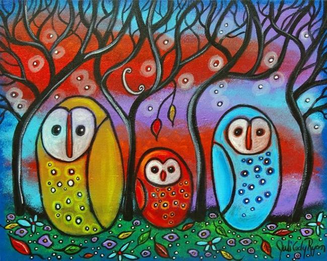 Art: The Owl Family by Artist Juli Cady Ryan