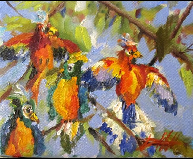 Art: Colorful Birds by Artist Delilah Smith
