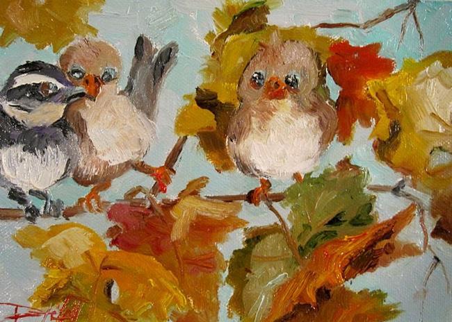 Art: Chubby Fall Birds by Artist Delilah Smith