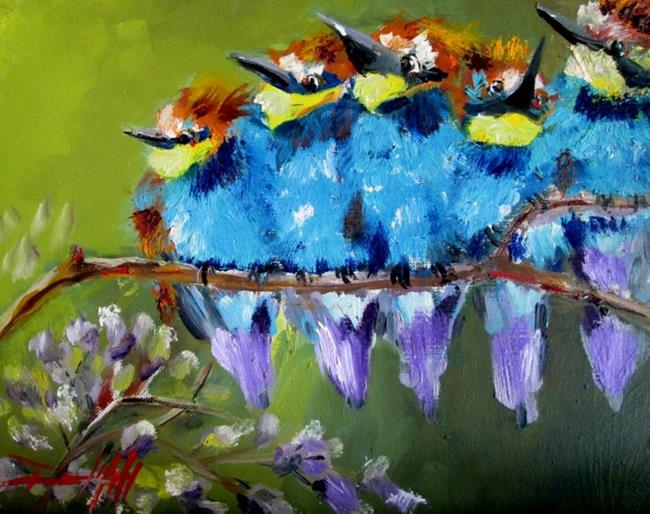 Art: Bright Fluffy Birds by Artist Delilah Smith
