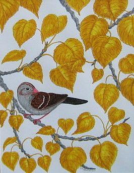 Art: Sparrow Tapestry (SOLD) by Artist Jackie K. Hixon