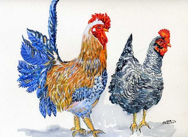 Art: Roosters, Mr & Mrs by Artist Naquaiya