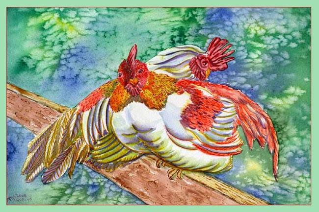 Art: White Roosters on Fence by Artist Naquaiya
