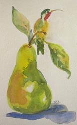 Art: Pear and Hummingbird by Artist Delilah Smith