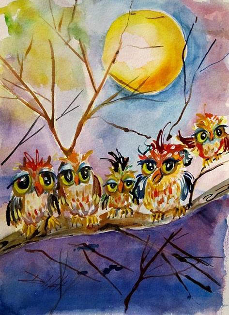 Art: Owls on a Limb by Artist Delilah Smith