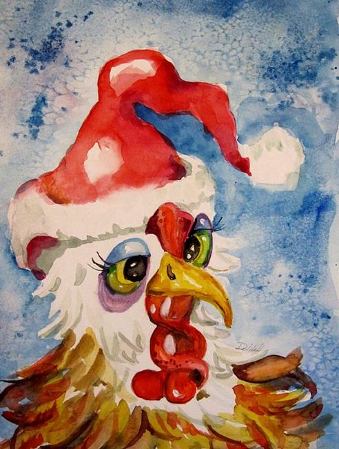 Art: Santa Chicken by Artist Delilah Smith