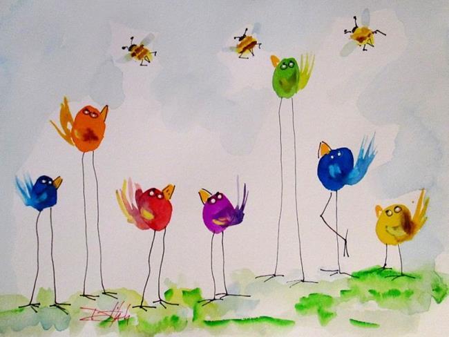 Art: Long Legged Birds by Artist Delilah Smith