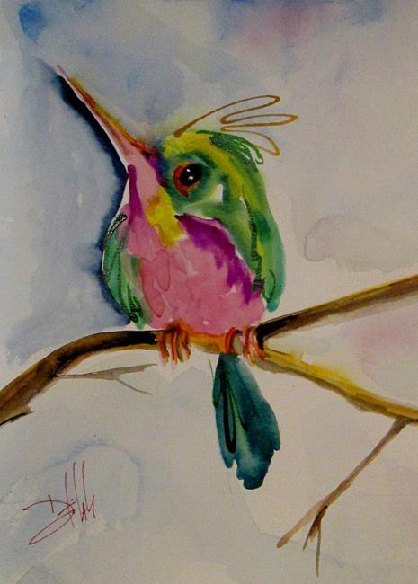 Art: Little Green Hummingbird by Artist Delilah Smith