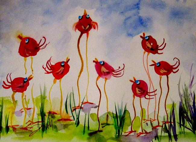 Art: Long Legged Red Birds by Artist Delilah Smith