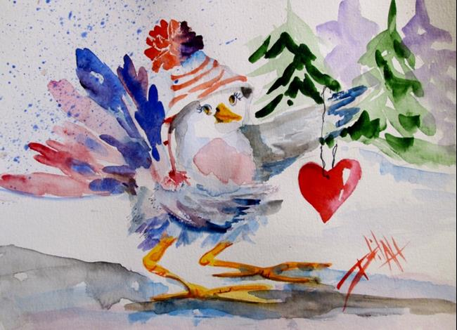 Art: Chubby Bird and Valentine by Artist Delilah Smith