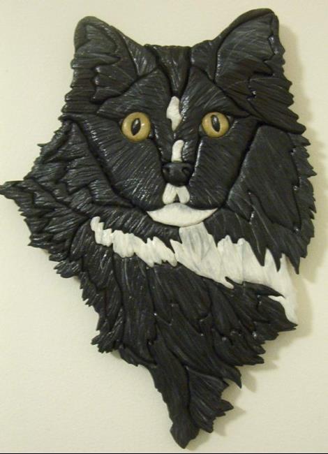 Art: Black Cat Lucky  Original Painted Intarsia Art by Artist Gina Stern