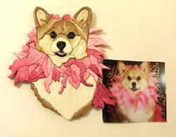 Art: 'BLOSSOM Corgi Original Painted Intarsia Art by Artist Gina Stern