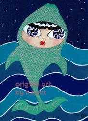 Art: Trout Girl Swims in Streams But Dreams of Stars by Artist Noelle Hunt
