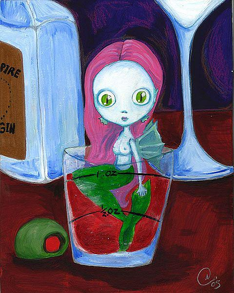 Art: Shot Glass mermaid by Artist Noelle Hunt