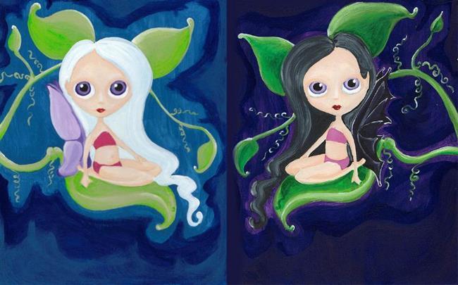 Art: Night Wing & Morning Star Faries by Artist Noelle Hunt