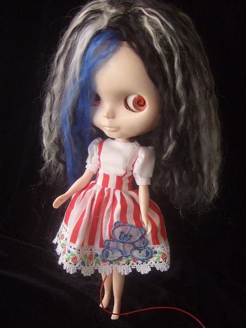 Art: Spooky Girl Custom Blythe Doll by Artist Noelle Hunt