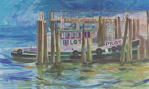Art: Pilot Boat by Artist Carol Thompson