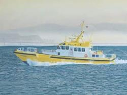 Art: Chinook Pilot Boat by Artist Carol Thompson