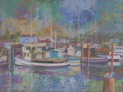 Art: Fort Bragg Harbor by Artist Carol Thompson