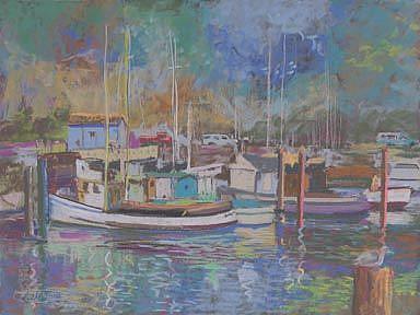 Art: Fort Bragg Harbor by Artist Carol Thompson