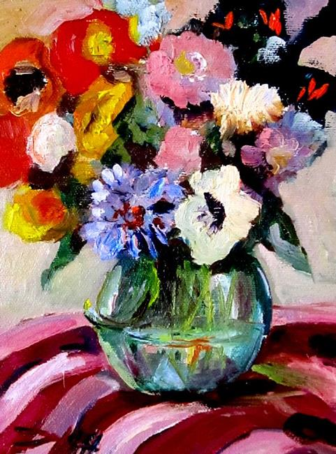 Art: Flowers in a Green Vase by Artist Delilah Smith