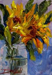 Art: Sunflowers in a Fruit Jar by Artist Delilah Smith