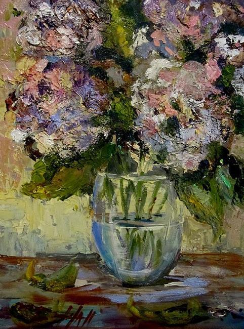 Art: Pretty in Pink Hydrangeas by Artist Delilah Smith
