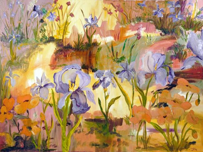 Art: Iris and Poppies by Artist Delilah Smith
