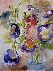 Art: Purple Hollyhocks-SOLD by Artist Delilah Smith