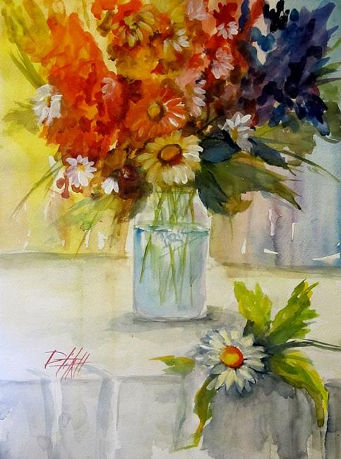 Art: Wild Flowers in a Ball Jar by Artist Delilah Smith