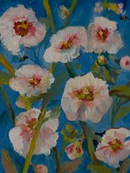 Art: Hollyhocks with Bees-SOLD by Artist Delilah Smith