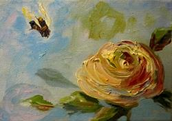 Art: Rose and Bumble Bee by Artist Delilah Smith