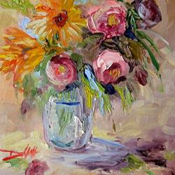 Art: Abstraction of Flowers-SOLD by Artist Delilah Smith
