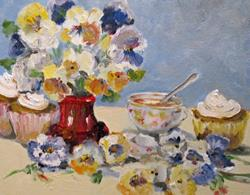 Art: Pansies and Tea Cup by Artist Delilah Smith