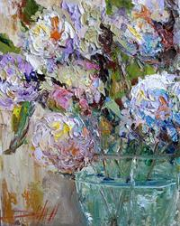 Art: Hydrages in Vase by Artist Delilah Smith