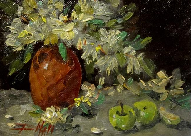 Art: Flowers and Green Apples by Artist Delilah Smith