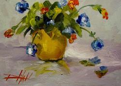 Art: Yellow Vase Blue Flowers by Artist Delilah Smith