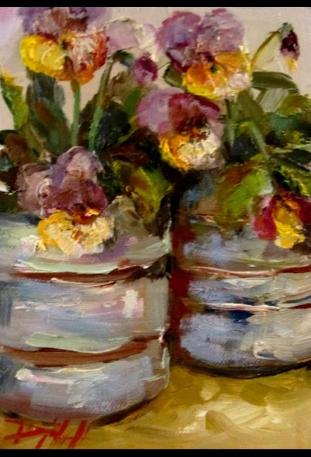 Art: Cans of Pansies by Artist Delilah Smith