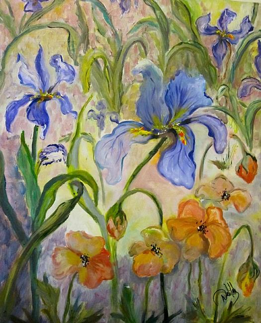 Art: Poppies and Iris by Artist Delilah Smith