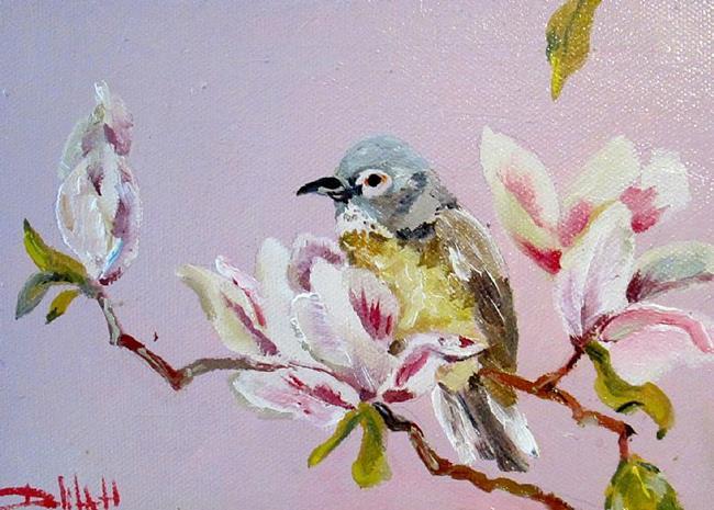 Art: Magnolias and Bird by Artist Delilah Smith