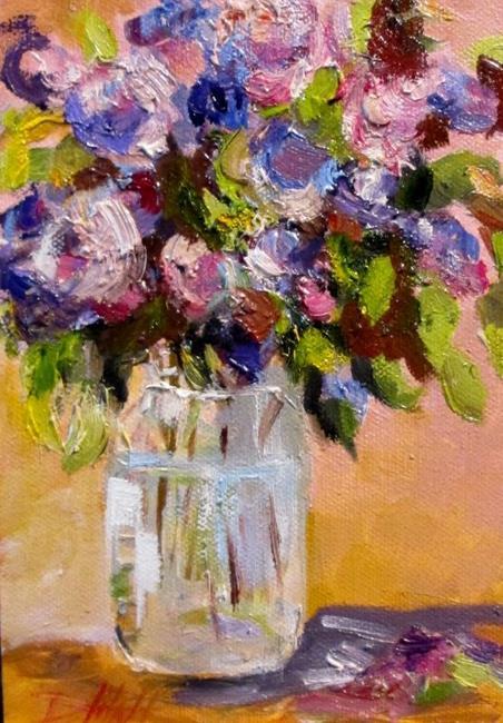 Art: Lilacs in Fruit Jar by Artist Delilah Smith