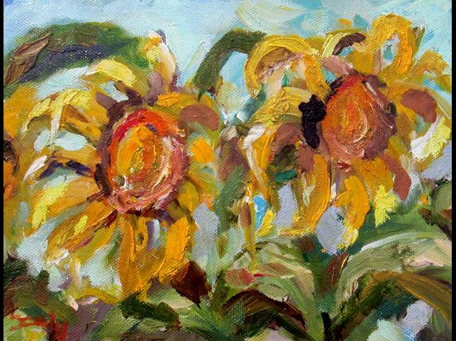 Art: Sunflowers Gone Wild by Artist Delilah Smith