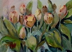 Art: Tint of Pink Tulips by Artist Delilah Smith
